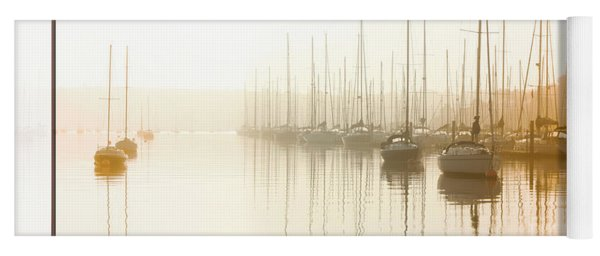 Dawn Reflections - Yachts At Anchor On The River Yoga Mat