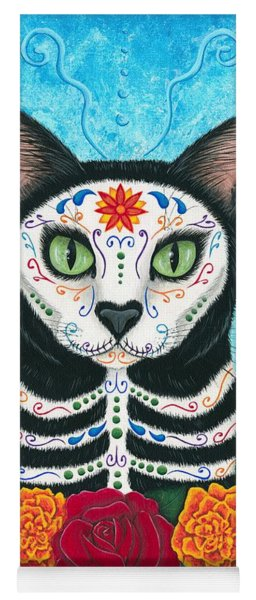Day Of The Dead Cat - Sugar Skull Cat Yoga Mat