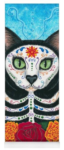 Day Of The Dead Cat - Sugar Skull Cat Yoga Mat