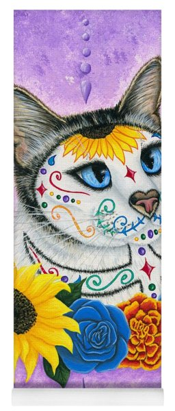 Day Of The Dead Cat Sunflowers - Sugar Skull Cat Yoga Mat