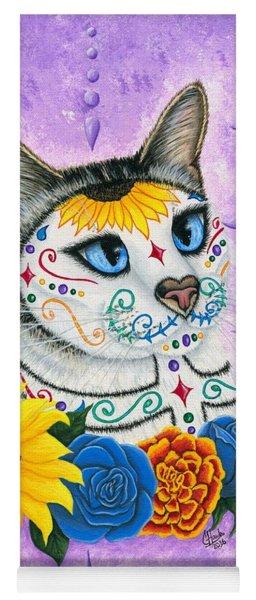 Day Of The Dead Cat Sunflowers - Sugar Skull Cat Yoga Mat