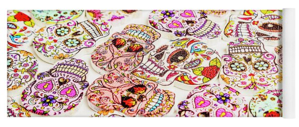 Day Of The Dead Colors Yoga Mat