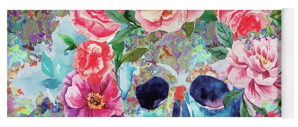 Day Of The Dead Watercolor Yoga Mat