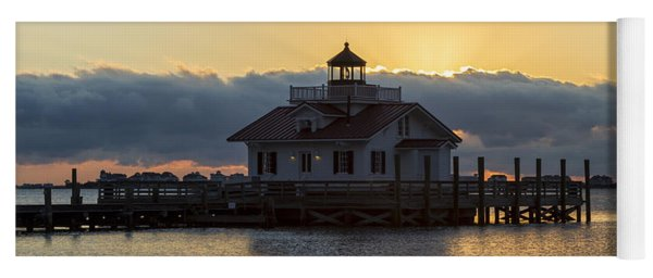 Daybreak Over Roanoke Marshes Lighthouse Yoga Mat