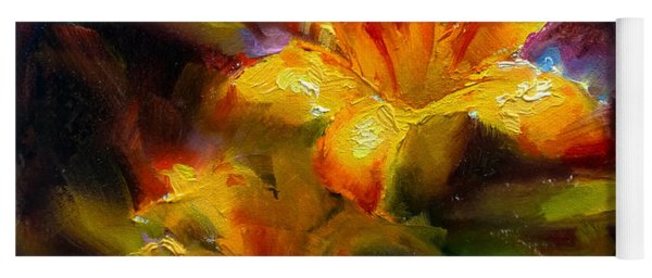 Daylily Sunshine - Colorful Tiger Lily/orange Day-lily Floral Still Life  Yoga Mat