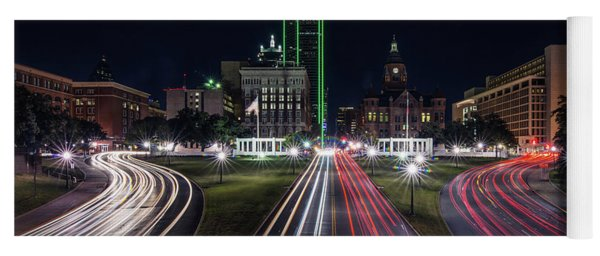 Yoga Mat featuring the photograph Dealey Plaza Dallas At Night by Todd Aaron