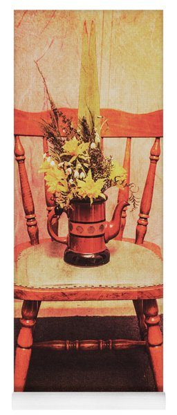 Decorated Flower Bunch On Old Wooden Chair Yoga Mat