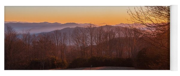 Deep Orange Sunrise Yoga Mat