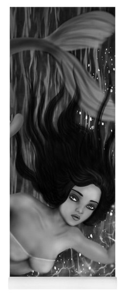 Deep Sea Mermaid - Black And White Fantasy Art Yoga Mat