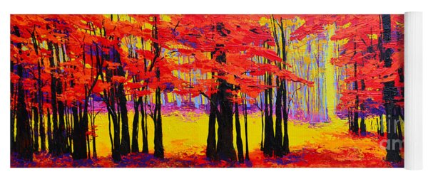 Deep Within - Enchanted Forest Collection - Modern Impressionist Landscape Art - Palette Knife Yoga Mat