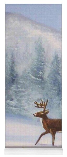 Deer In The Snow Yoga Mat