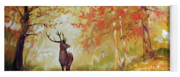 Deer On The Wooden Path Yoga Mat