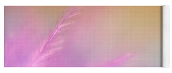 Delicate Pink Feather Yoga Mat
