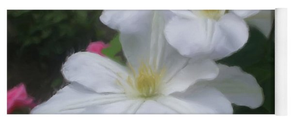 Delicate White Clematis Pair Yoga Mat