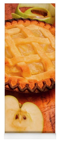 Delicious Apple Pie With Fresh Apples On Table Yoga Mat