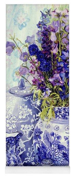 Delphiniums With Antique Blue Pots Yoga Mat