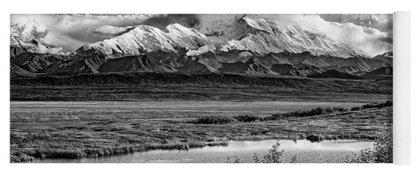Denali, The High One In Black And White Yoga Mat