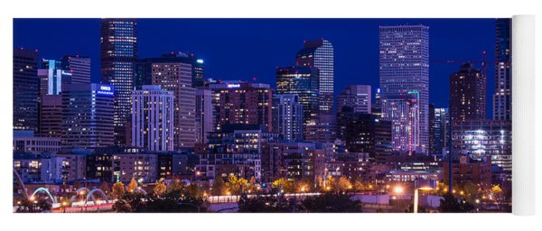 Denver Skyline At Night - Colorado Yoga Mat
