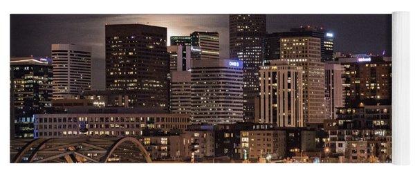 Denver Skyline At Night Yoga Mat