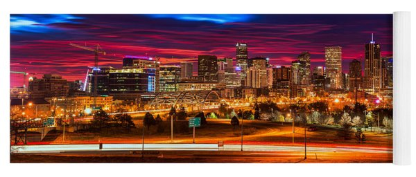 Denver Skyline Sunrise Yoga Mat