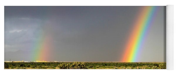 Desert Double Rainbow Yoga Mat