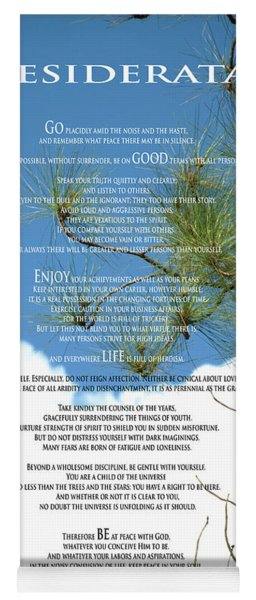 Desiderata Poem Over Sky With Clouds And Tree Branches Yoga Mat