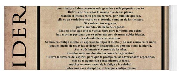 Desiderata - Spanish- Poema Escrito Por Max Ehrmann Yoga Mat