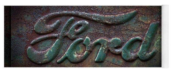 Detail Old Rusty Ford Pickup Truck Emblem Yoga Mat