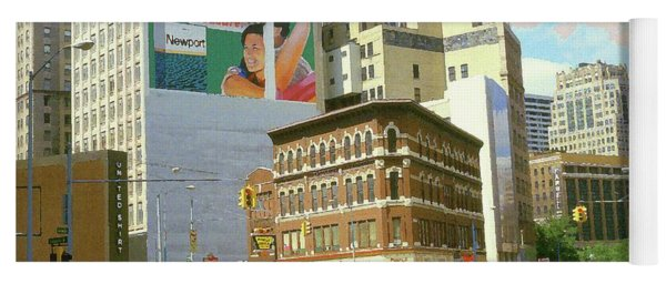 Detroit Michigan 84 - Watercolor Yoga Mat