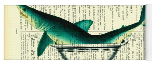 Shark In Bathtub Illustration On Dictionary Paper Yoga Mat