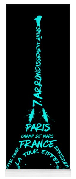 Digital-art Eiffel Tower Cyan Yoga Mat
