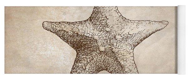 Distressed Antique Nautical Starfish Yoga Mat