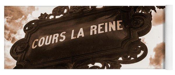 Distressed Parisian Street Sign Yoga Mat