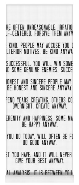 Do It Anyway By Mother Teresa 3 #minimalism #inspirational Yoga Mat