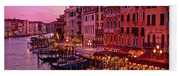 A Cityscape With Vintage Buildings And Gondola - From The Rialto In Venice, Italy Yoga Mat