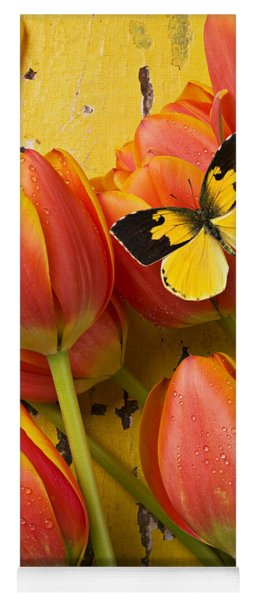 Dogface Butterfly And Tulips Yoga Mat