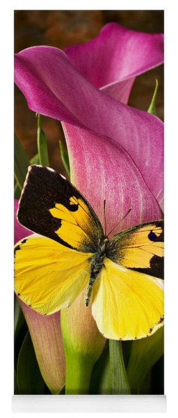 Dogface Butterfly On Pink Calla Lily  Yoga Mat