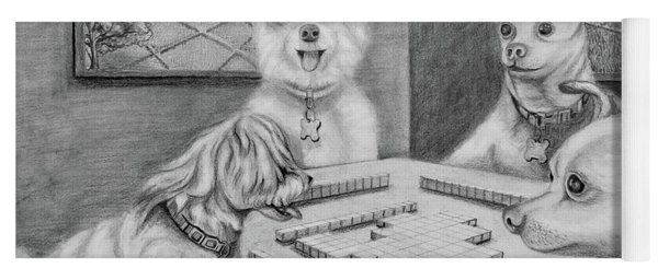 Dogs Playing Mahjong Yoga Mat