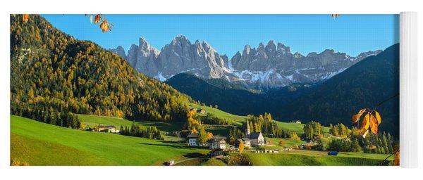 Dolomites Mountain Village In Autumn In Italy Yoga Mat