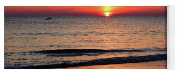 Dolphin Jumping In The Sunrise Yoga Mat