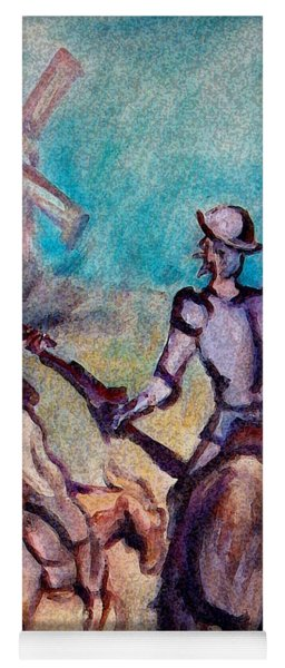 Don Quixote With Windmill Yoga Mat