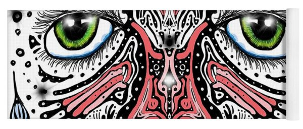 Yoga Mat featuring the digital art Doodle Face by Darren Cannell