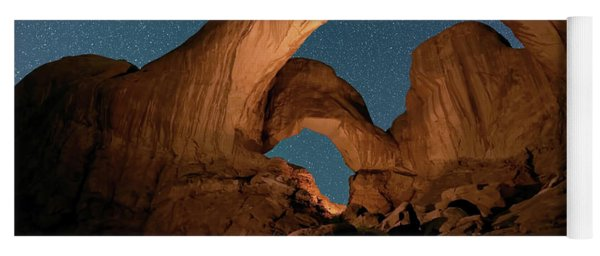 Double Arch And The Milky Way - Arches National Park - Moab, Utah. Yoga Mat