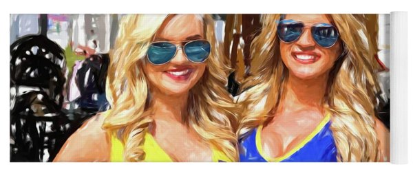 Double Blondes At The Track Yoga Mat