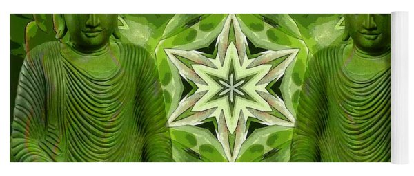 Double Green Buddhas Yoga Mat