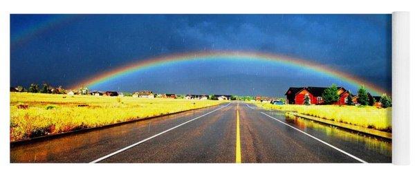 Double Rainbow Over A Road Yoga Mat