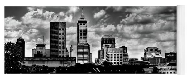 Downtown Indianapolis Skyline Black And White Yoga Mat