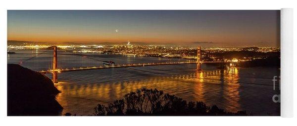 Downtown San Francisco And Golden Gate Bridge Just Before Sunris Yoga Mat