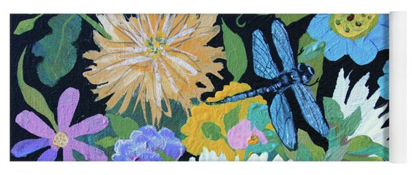 Yoga Mat featuring the painting Dragonfly And Flowers by Robin Maria Pedrero