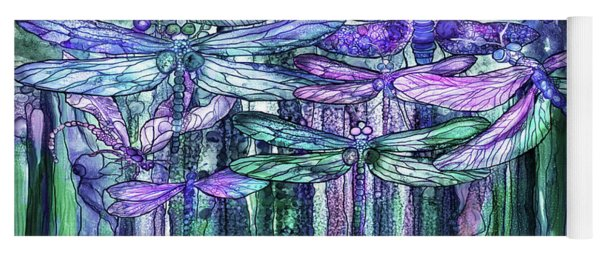 Dragonfly Bloomies 4 - Lavender Teal Yoga Mat